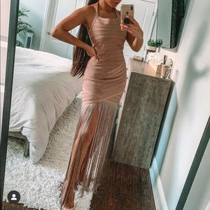Tan Bodycon Fringe Dress